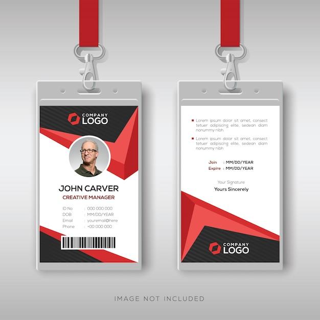 Modello di carta d'identità creativa con dettagli rossi Vettore Premium