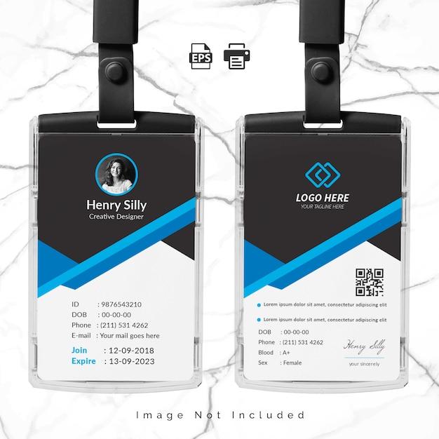 Modello di carta d'identità dell'ufficio Vettore Premium