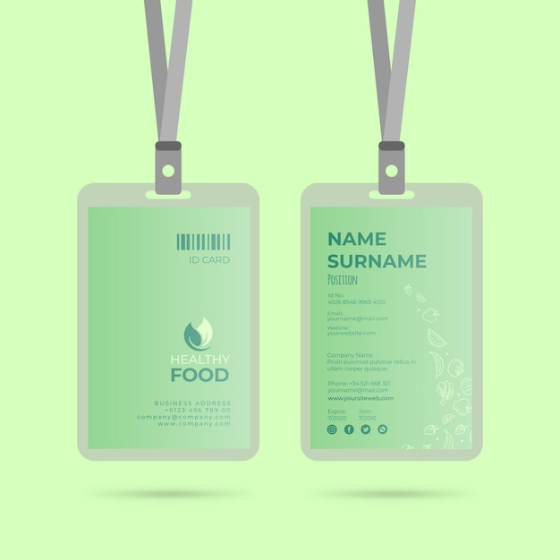 Modello di carta d'identità di cibo sano Vettore gratuito