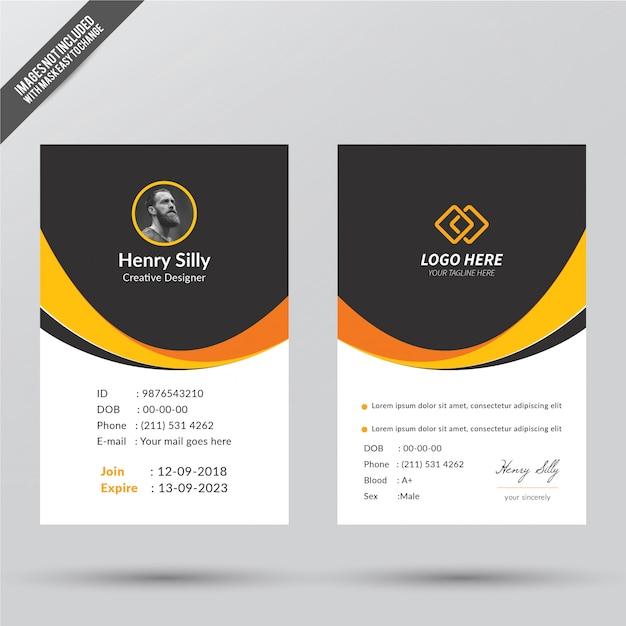 Modello di carta d'identità di office Vettore Premium