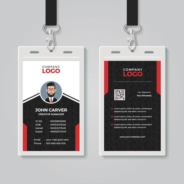 Modello di carta d'identità professionale Vettore Premium