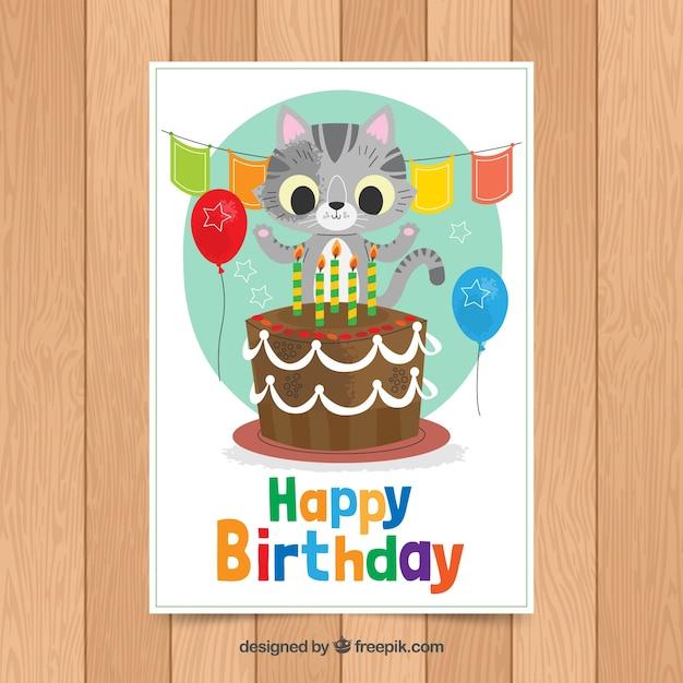 Modello di carta di compleanno con gatto carino Vettore gratuito