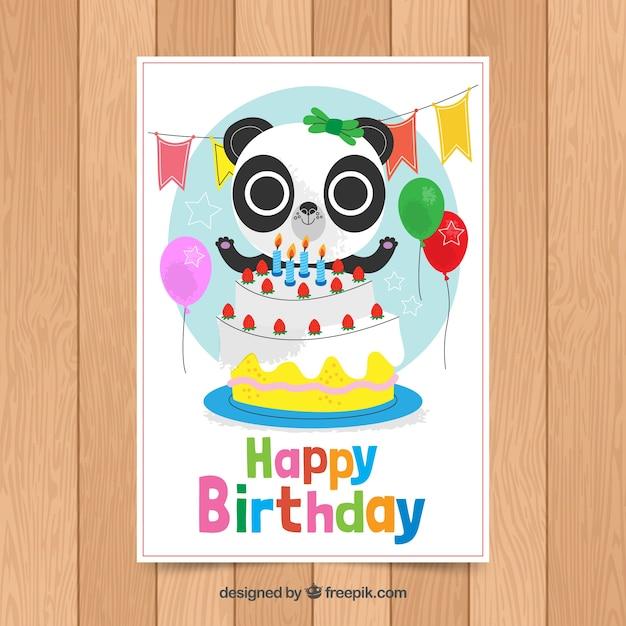 Modello di carta di compleanno con panda carino Vettore gratuito