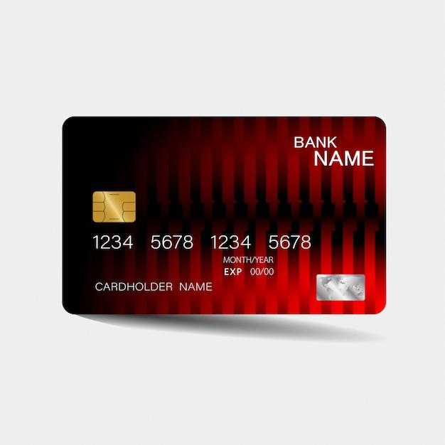 Modello di carta di credito con elementi rossi Vettore Premium