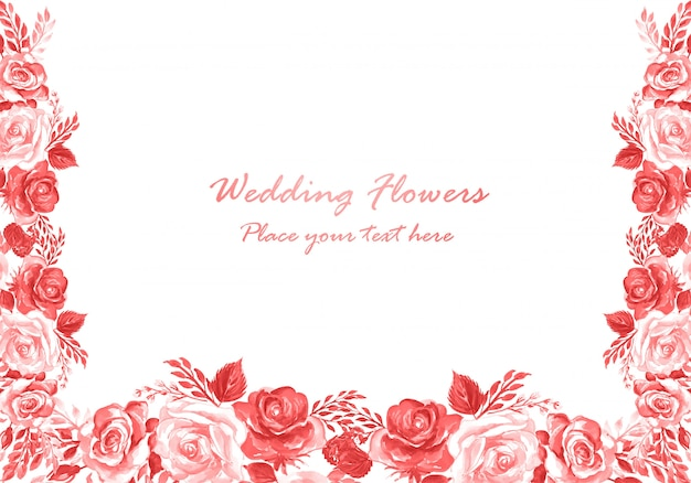 Modello di carta di fiori decorativi dell'acquerello invito a nozze Vettore gratuito