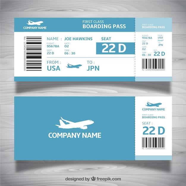 Modello di carta di imbarco nei toni del blu Vettore gratuito
