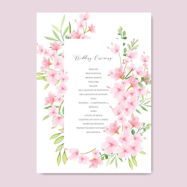Modello di carta di invito a nozze con disegno floreale cherry blossom Vettore Premium
