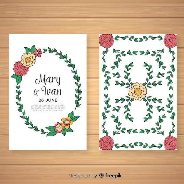 Modello di carta di invito a nozze floreale Vettore gratuito