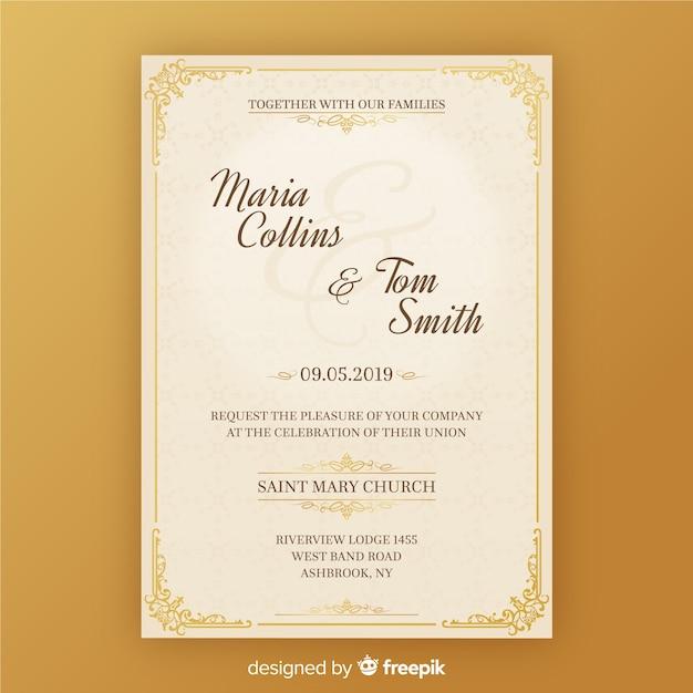 Modello di carta di invito a nozze Vettore gratuito