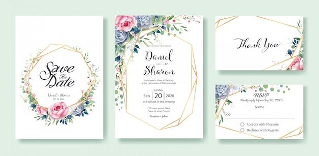 Modello di carta di invito a nozze Vettore Premium