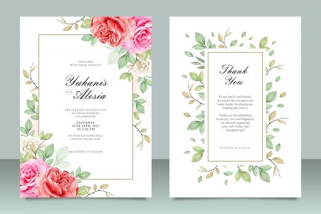 Modello di carta di invito bel matrimonio con fiori e foglie di acquerello Vettore Premium