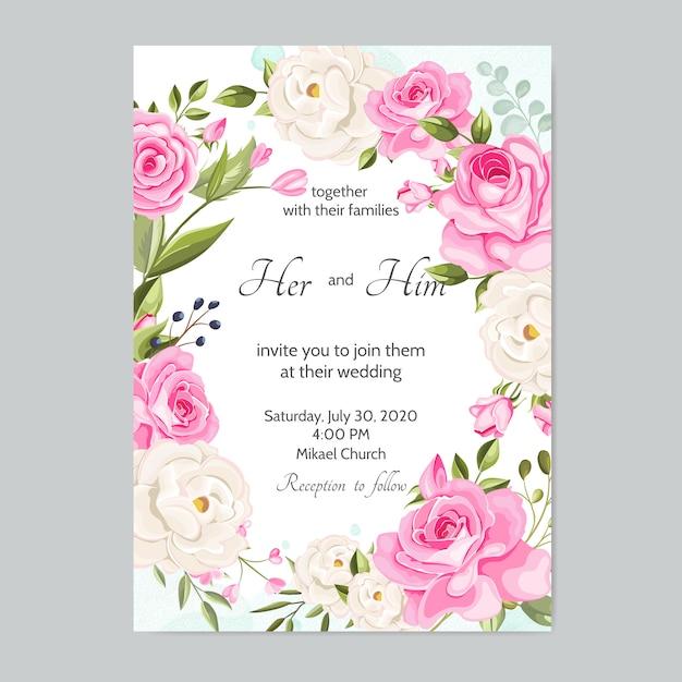 Modello di carta di invito bel matrimonio con foglie floreali Vettore Premium