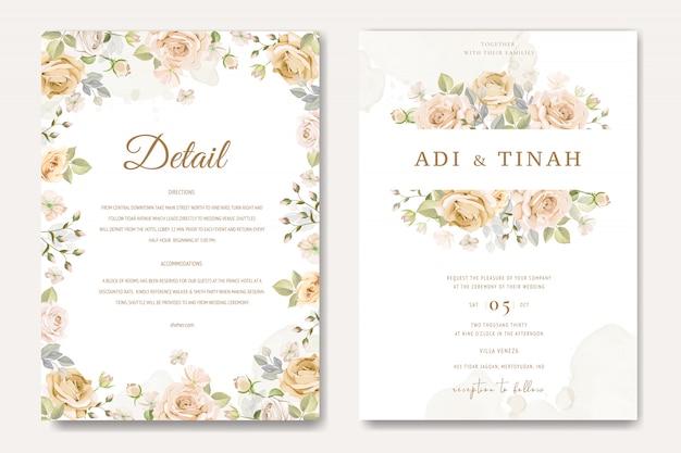 Modello di carta di invito bel matrimonio con rose bianche e gialle Vettore Premium