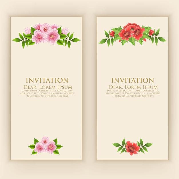 Modello di carta di invito con elegante decorazione floreale Vettore gratuito