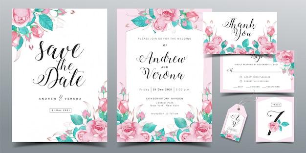 Modello di carta di invito di nozze bella in tema di colore rosa morbido con decorazione dell'acquerello di rose rosa Vettore Premium