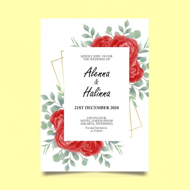 Modello di carta di invito di nozze con decorazione di rose rosse stile acquerello Vettore Premium