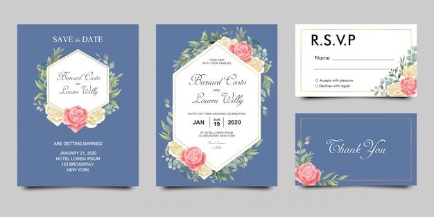 Modello di carta di invito di nozze con fiori ad acquerelli Vettore Premium