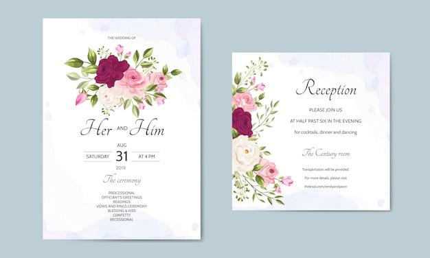 Modello di carta di invito di nozze impostato con belle foglie floreali Vettore Premium