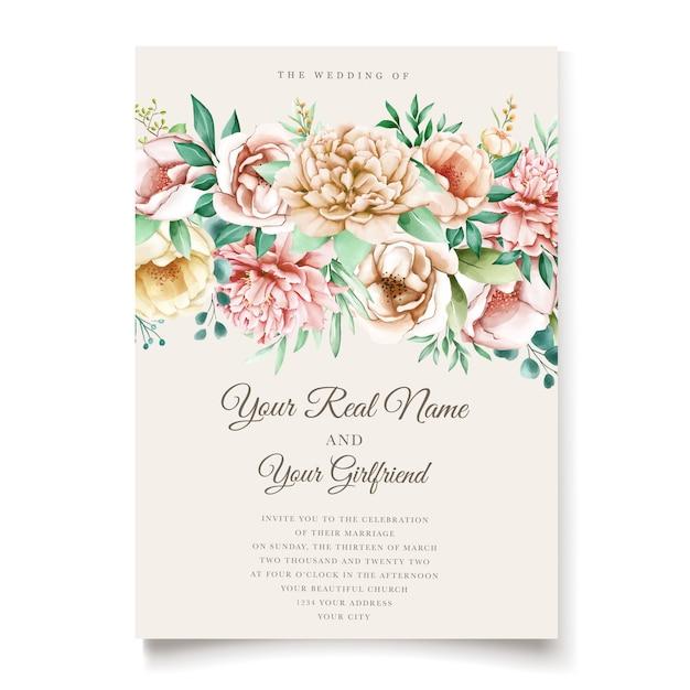 Modello di carta di invito elegante peonie Vettore gratuito