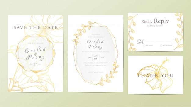 Modello di carta di invito matrimonio bellissimo Vettore Premium