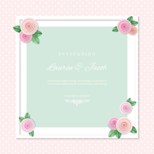 Modello di carta di invito matrimonio con cornice quadrata decorata con rose. Vettore Premium