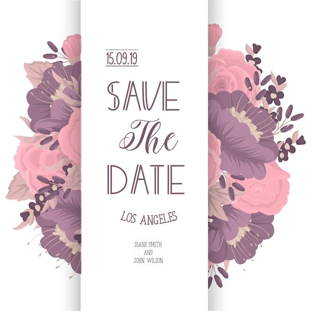 Modello di carta di invito matrimonio con fiori colorati. Vettore gratuito