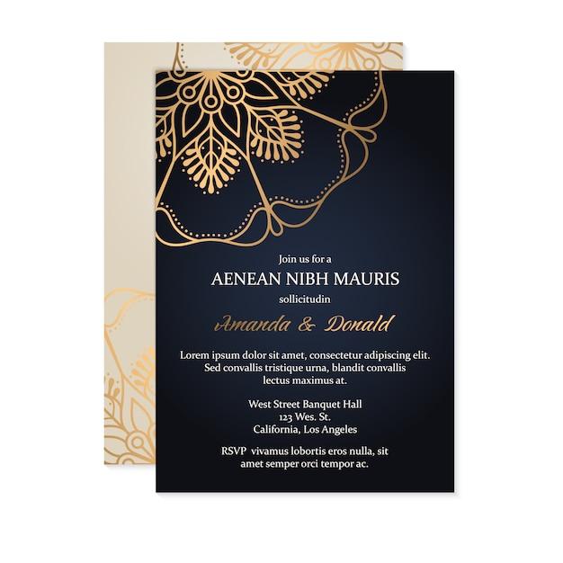 Modello di carta di invito matrimonio di lusso Vettore gratuito