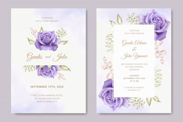 Modello di carta di invito matrimonio elegante con bellissimo floreale Vettore Premium