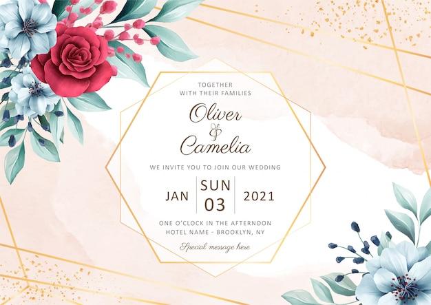 Modello di carta di invito matrimonio elegante orizzontale con bella decorazione floreale dell'acquerello Vettore Premium