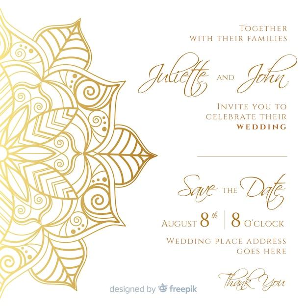 Modello di carta di invito matrimonio elegante Vettore gratuito