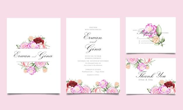 Modello di carta di invito matrimonio floreale dell'acquerello Vettore Premium