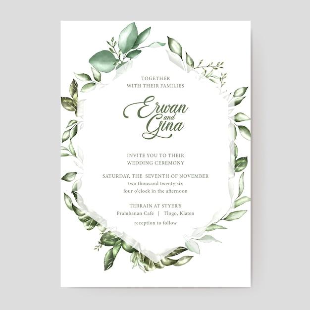 Modello di carta di invito matrimonio floreale Vettore Premium