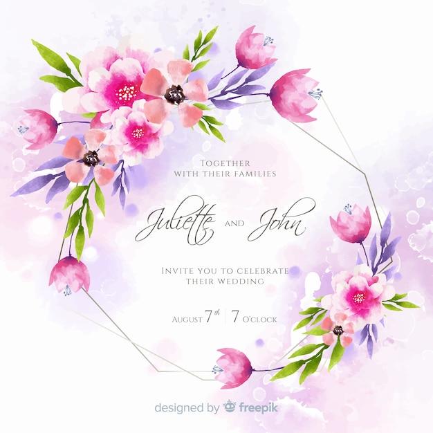 Modello di carta di invito matrimonio floreale Vettore gratuito