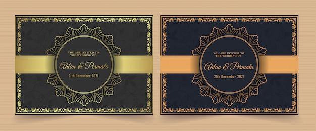 Modello di carta di lusso dorato vintage invito vettoriale Vettore Premium