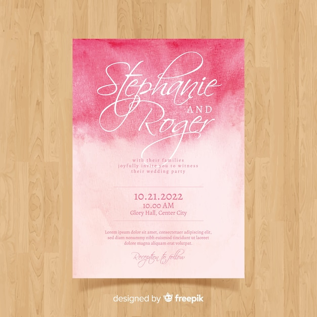 Modello di carta di matrimonio ad acquerello Vettore gratuito