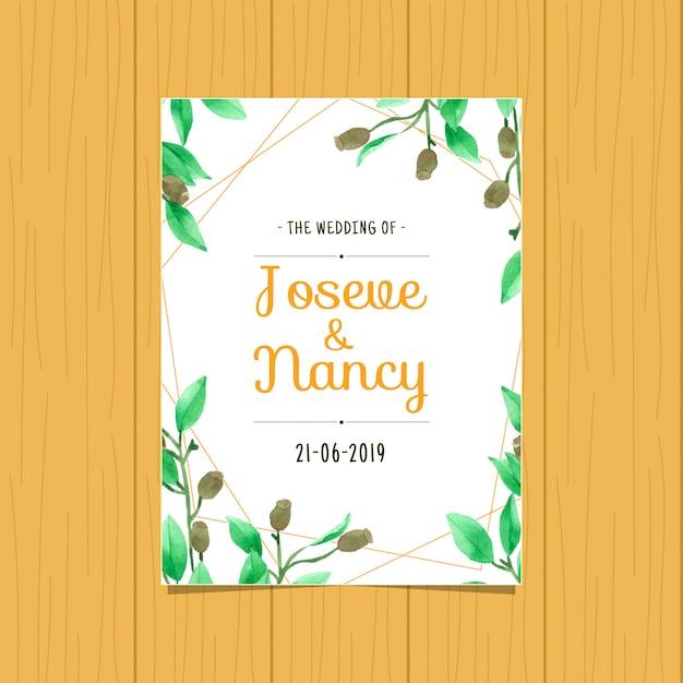 Modello di carta di matrimonio disegnato a mano foglia verde Vettore Premium