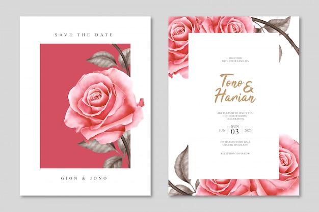 Modello di carta di matrimonio minimalista con bellissimi fiori di rose Vettore Premium