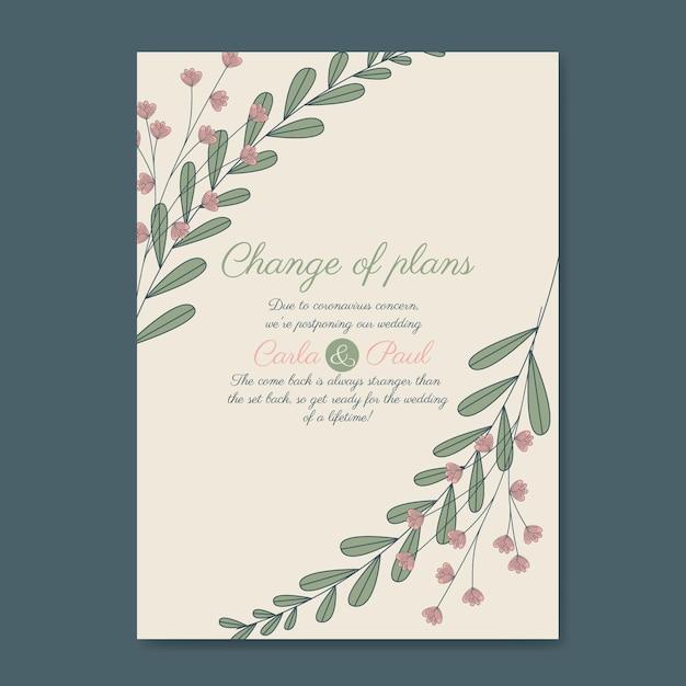 Modello di carta di matrimonio rinviato disegnato a mano Vettore gratuito