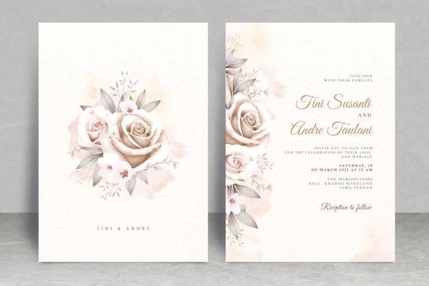 Modello di carta di matrimonio vintage con acquerello floreale Vettore Premium