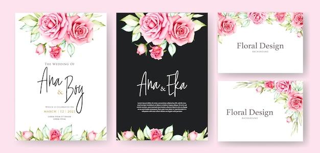 Modello di carta di nozze bellissimo fiore Vettore Premium