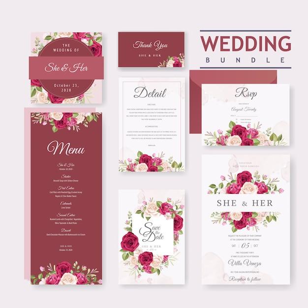 Modello di carta di nozze con bel fiore e foglie cornice Vettore Premium
