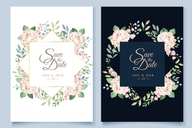 Modello di carta di nozze con bella corona floreale Vettore Premium