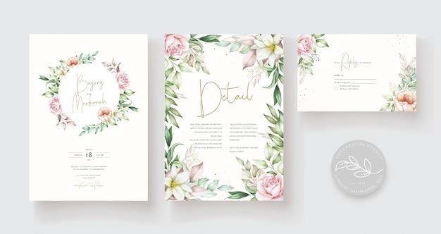 Modello di carta di nozze disegnati a mano bella Vettore Premium
