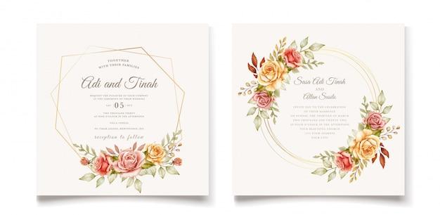 Modello di carta di nozze disegnati a mano Vettore gratuito