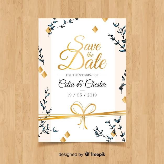 Modello di carta di nozze disegnato a mano Vettore gratuito