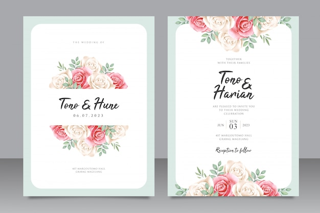Modello di carta di nozze elegante con bella cornice floreale Vettore Premium