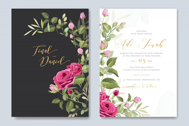 Modello di carta di nozze elegante con bella corona di rose Vettore Premium