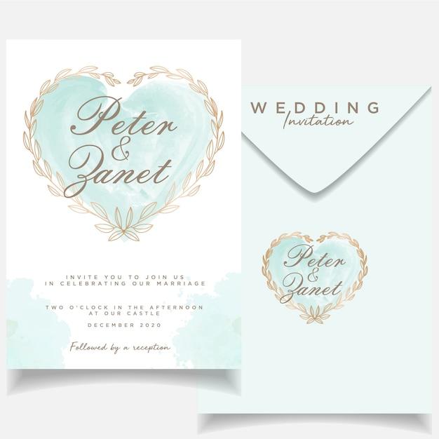 Modello di carta di nozze evento bellissimo invito Vettore Premium