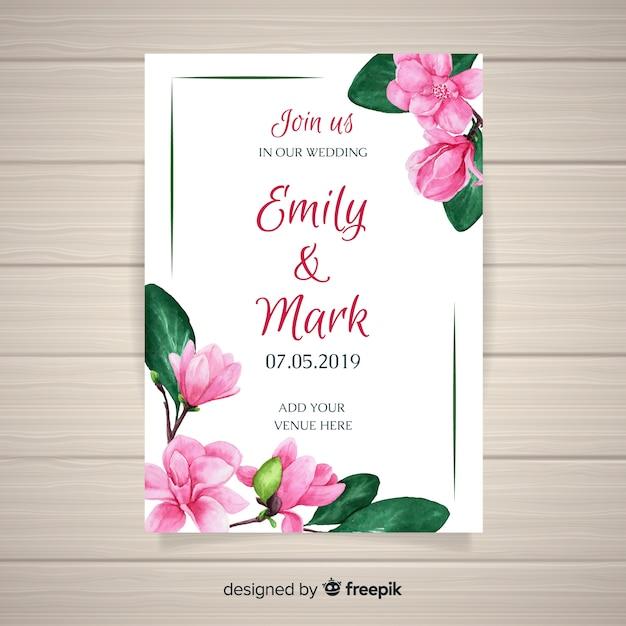 Modello di carta di nozze floreale dell'acquerello Vettore Premium