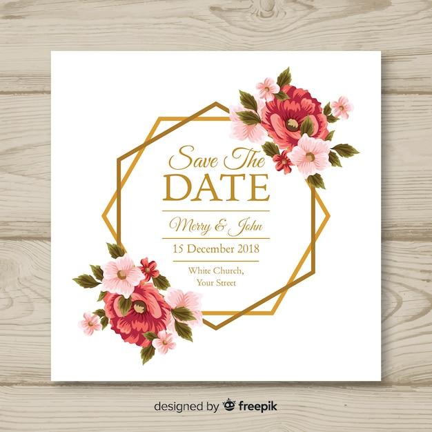 Modello di carta di nozze floreale Vettore gratuito